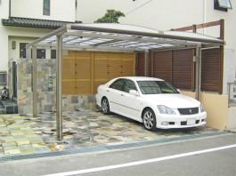 福岡県春日市の外構リフォーム工事。太陽ハウジングの和モダンなモデルハウスです。