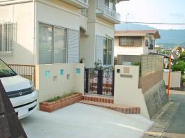 福岡県糟屋郡宇美町の外構リフォーム工事。外構、お庭ガーデン、立水栓をリフォーム。