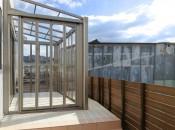 福岡県糟屋郡須惠町の庭・ガーデン工事。ガーデンにガーデンルームと目隠しフェンスを施工。
